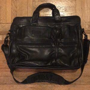 TUMI Black Leather Expandable Computer Briefcase